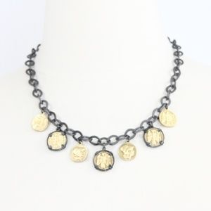 Lia Sophia Necklace Coins Roman Statement NEW